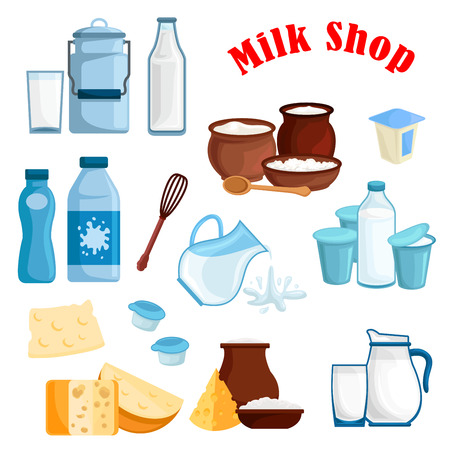 Dairy products, milk isolated icons. Vector milky food and drinks milk bottle and butter, cottage cheese and fresh cream in bowl, sour cream and milk curd, cheese, yogurt or kefir in pitcher, whisk and spoon for milk shop, store or market