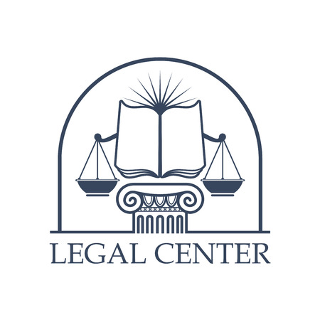 legal law: Juridical legal center emblem. Vector icon with Scales of Justice symbol, open book on roman column pillar capital, sun rays under arch. Badge for law attorney, legal advocate or lawyer office, notary or advocacy company