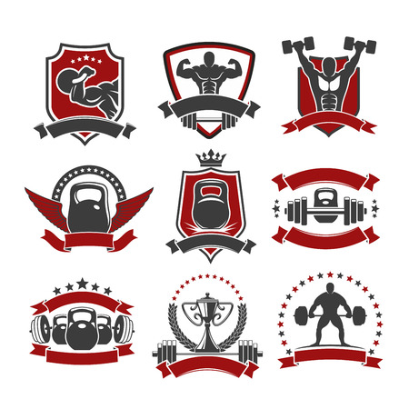 Weightlifting sport icons. Powerlifting gym vector isolated icons set of weightlifter athlete muscle torso and arm, iron weight barbell or dumbbell, winner cup award, laurel wreath, wings and crown. Ribbon stars for fitness, crossfit badge or sign