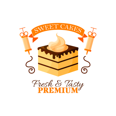 pastry shop: Pastry dessert icon. Patisserie sweet cake emblem. Vector isolated cupcake or tart with whipped cream, chocolate fondant and baker syringe. Badge and ribbon for bakery or confectionery shop