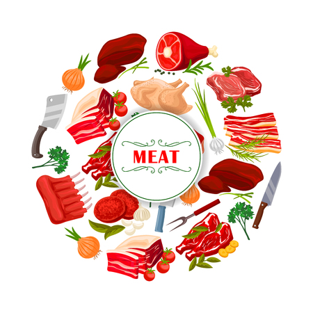 Butchery poster of meat products beef filet or t-bone steak, turkey and chicken leg, pork tenderloin bacon and mutton ribs or sirloin, fresh liver and cutlets with greens onion, garlic, parsley, cutlery knife and fork. Butcher shop vector design