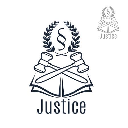 Ikona Prawo sędzia młotek, heraldyczne wieńcem laurowym i sprawiedliwości prawnej Kod silcrow paragraf lub ust symbol na otwartej książce. Prawnik i adwokat godło dla pełnomocnika prawnego lub w biurze, rzecznictwa prawnego środka obrońcę lub notariusza firmy