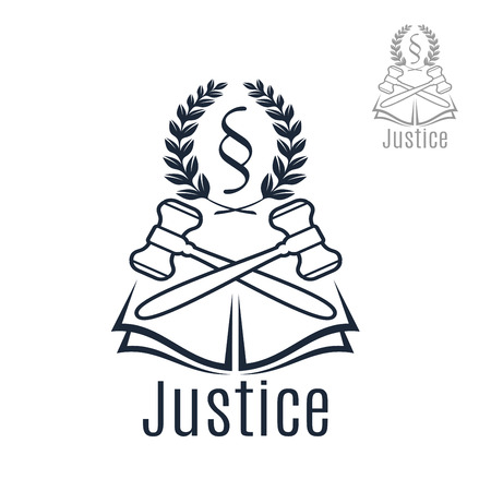 Law icon of judge gavel, heraldic laurel wreath and justice legal code silcrow section sign or paragraph symbol on open book. Lawyer or advocate emblem for law attorney or advocacy office, juridical counsel center or notary company
