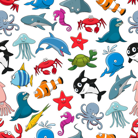Cartoon pattern of sea fish and ocean animals starfish and seahorse, squid and jellyfish, seal, dolphin and shark whale, lobster crab, octopus, stingray and penguin, turtle, clown fish or flounder and tropical butterflyfish. Seamless vector Illustration