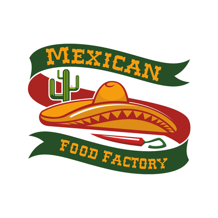 Mexican restaurant emblem. Mexico food bar vector isolated icon or badge with mexican sombrero hat, chili pepper jalapeno, agave or cactus peyote. Sign and ribbon for spicy tacos and burritos snacks fast food, drink bar or authentic restaurant menu