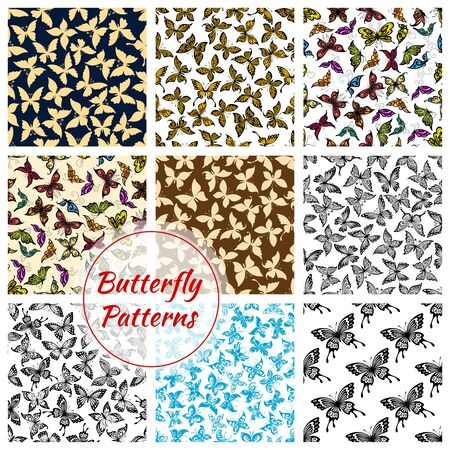 flit: Butterflies pattern. Vector butterfly and moth insects. Exotic swallowtail with flittering wings, tropical monarch butterfly and hawk-moth, flying machaon and cabbage and luna batterfly. Seamless backgrounds set Stock Photo