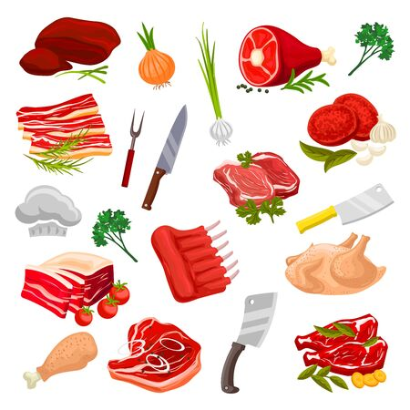 wildfowl: Meat products icons. Vector beef filet t-bone steak pork tenderloin bacon, mutton ribs and sirloin, turkey poultry and chicken leg, fresh liver. Butchery or butcher shop fresh meat, greens onion, garlic and cutlery hatchet, knife and fork