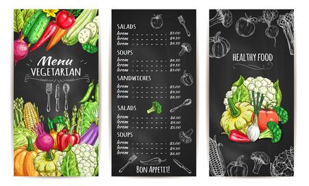 야채 채식 메뉴 안내 책자 또는 카드 스케치 분필. 칠판에 벡터 건강한 채식 식물성 식품 가격. 채소 무, 당근, 마늘, 완두콩, 호박, 호박, 칠리 고추, 양 일러스트