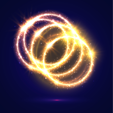 light circular: Golden light circles. Abstract lights and sparkling flashes Shiny rings with shimmering glitter particles with luminous glittering effect. Magic glowing circular star rays and beams