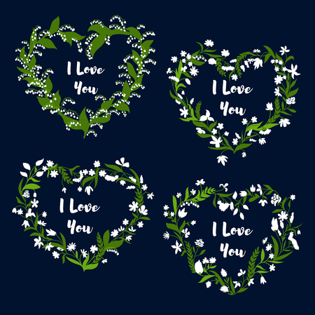 Flower heart Valentine Day card set. Floral wreath with white flowers, green leaves and herbs, arranged in heart shaped frame with text I Love You in center. Valentine card, wedding invitation design Illustration