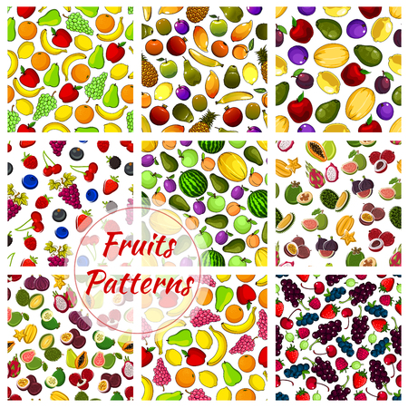 Set of farm vegetables and tropical fruit seamless pattern background. Pear and orange, banana and grapes, apple and lemon, kiwi and mango, plum and lychee, maracuya and fig, guava and strawberry. Vegetarian or vegan vitamin food theme Illustration