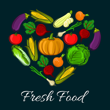 napa: Heart shaped farm harvest vegetables. Organic radish or beets, healthy corn and fresh tomato, napa or chinese cabbage and eggplant, zucchini. Vegetarian food or vegan shop, grocery store or veggie market stall, counter, nutrition and salad theme