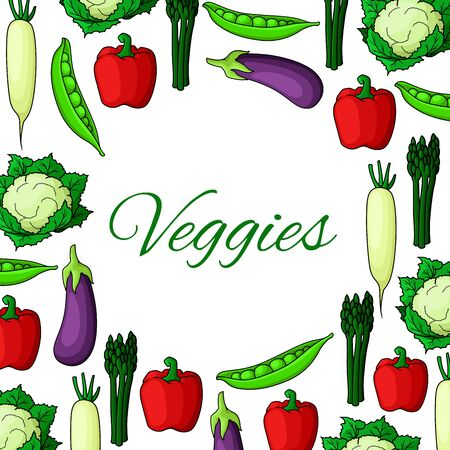 crop harvest: Vegetable natural food poster. Farm asparagus and bell pepper, eggplant and daikon, peas and cauliflower. Farming or harvest, nature and health, salad or kitchen cooking, crop theme, restaurant or market, shop advertisement