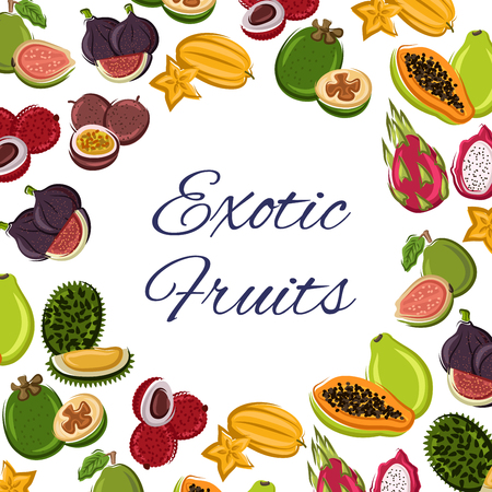Tropical exotic fruit for food or fresh juice poster. Lychee or lichee, maracuya or passion fruit, papaya or figs, durian and pitaya or pitahaya, dragon plant, guava and sweet papaya. Vegetarian and healthy restaurant menu