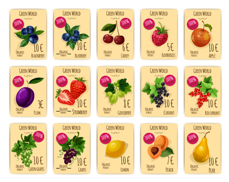 Price tag or cards for fruit and berry. Sale label with blackberry or blueberry, bilberry and whortleberry, huckleberry, cherry and raspberry, apple and plum, strawberry and gooseberry, redcurrant and grapes, lemon and peach, pear. Agriculture theme
