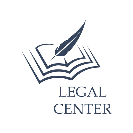 prosecutor: Legal center symbol as feather writing on book. Judgment certificate or police document, crime verdict icon, lawsuit sign or crime punishment badge. Wisdom or prosecutor decision theme, court logo