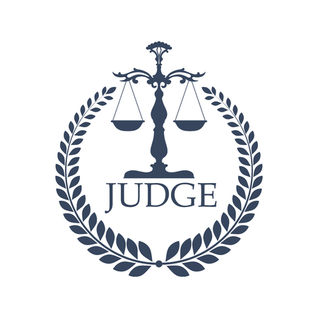 weigher: Laurel wreath and judge scales or weigher. Lady justice or Justitia attribute logo or criminal punishment icon. Judgment and defence or legal defense balance with prosecutor, liberty and lawsuit, trial theme