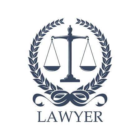 Advocaat teken van schaal in lauwerkrans. Weger voor gerechtigheid en bemiddelen of Weegschaal. Vervolging en de wet verdediging evenwicht, oordeel en bescherming, proces en mensenrechten thema, belangenbehartiging of notaris, officier van justitie of rechter-symbool