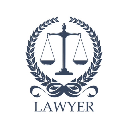 Lawyer sign of scale in laurel wreath. Weigher for justice and arbitrate or Libra. Prosecution and law defense balance, judgement and protection, lawsuit and human rights theme, advocacy or notary, prosecutor or court symbol