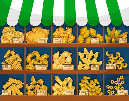 restaurante italiano: Pasta o puesto de comida italiana macarrones o mostrador. Tricolore y quadretti, bucatini y Torti, konkiloni, y del farfalle, kanelone o canelones, cavatappi y stelle, rotini y penne, fusilli y rigatoni. Mercado o tienda, restaurante espaguetis tema