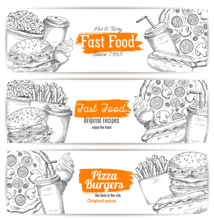fried food: Fast american food banner sketch. Hamburger or cheeseburger, soda drink in cup or cone ice-cream, sausage in hot dog and burger, popcorn and pizza, fried french. Restaurant or cafe, shop poster or bistro logo