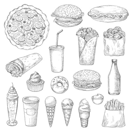 american food: American junk or fast food sketch. Ice cream in cone waffle, pizza and hamburger or cheeseburger, pizza and french fries or fried potato, donut or doughnut, sauce or ketchup, cupcake, soda with straw. Restaurant and nutrition theme