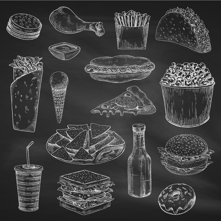 chalk drawing: Fast american food sketch on chalkboard or blackboard. Chalk drawing of chicken leg or pork ham, sandwich and hamburger, soda and ice cream, sliced cheese and pizza, burrito and donut, sauce and fried french. Unhealthy nutrition or shop theme Illustration