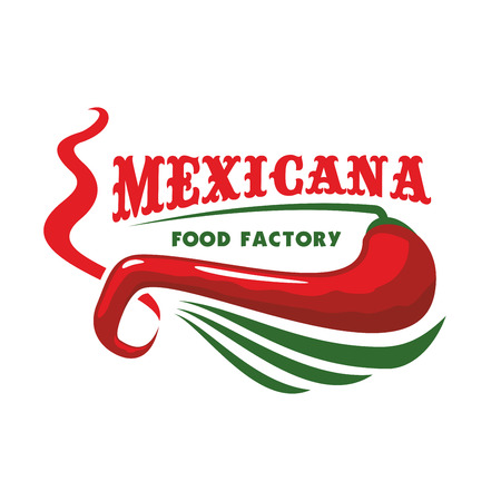 food ingredient: Mexico or mexican restaurant icon with red chili pepper. American or latina spicy jalapeno ingredient, chile vegetable. Vegetarian or vegan nutrition or seasoning theme, traditional latin culture food. Illustration