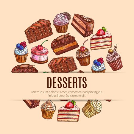sweet pastries: Pastry and dessert food, bakery and sweets banner. Chocolate cake and cupcake with cream and strawberry, waffle bake and candy sticks, flour cookie and muffin. Cafeteria or restaurant, cafe and shop, nutrition and recipe theme