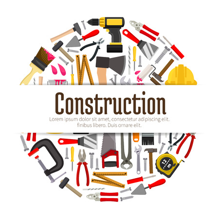 Construction instruments for building banner. Repair items or tools such as spatula and helmet, hammer and ruler, paint brush and shovel, spanner and trowel, saw and drill. Carpentry or engineer, building maintenance, architecture theme Çizim