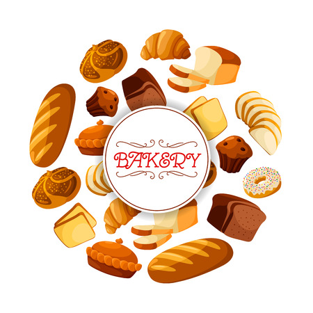 Bakery food or bread loaf, baguette banner. Butterbrot or brick rye pastry and baton, french croissant and cereal anadama, cake with raisins and grain, donut or doughnut. Perfectly fits for breakfast or dinner snack, bakehouse or shop