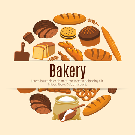 kringle: Pastry food and baked bread and wheat banner. Loaf of rye and brick bread and baguette, baton and ear, croissant and bun, wooden cutting board and roller pin, flour bag and kringle, cake with raisins. Nutrition and baker shop, cooking poster Illustration