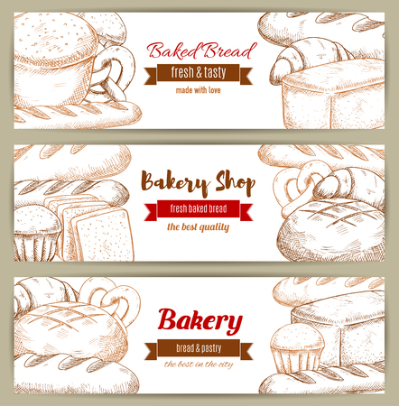 cultivo de trigo: Sketch banner of bread loafs and kringle. Pastry rye meal with butterbrot brick anadama and croissant, kifli and cereal bakery, french baguette and yeasted wheat. Bakehouse or bakery shop, cooking and crop theme Vectores