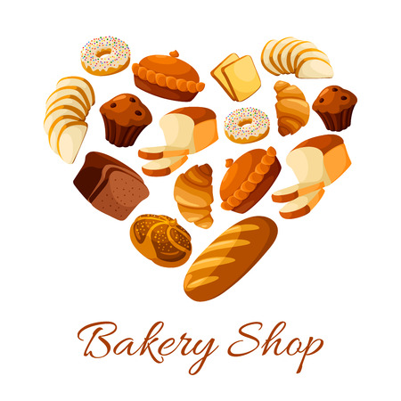 baton: Bread and croissant, donut shaped as heart. Doughnut and baked bun, bagel and cake with raisins, baguette or baton, cereal rye anadama. Bakehouse or bakery, pastry shop or store, rural nutrition and crop theme