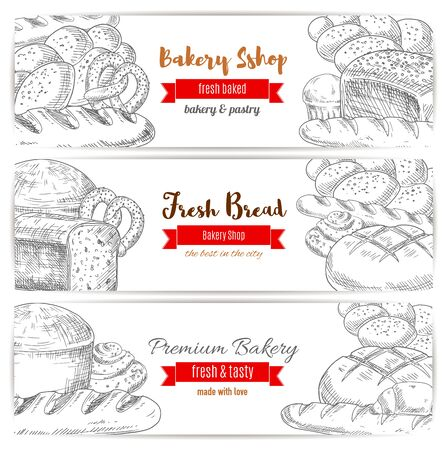 kringle: Bread and kringle, pastry and bakery sketch banner. Loaf of cereal rye sliced anadama and kringle or kifli, french baguette or baton. Agriculture crop assortment and cook, bakery theme Illustration