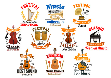 fiddlestick: Instruments for music and melody notes with ribbon set of icons. Drum kit and acoustic, electric guitar, gramophone and harp, fiddle with fiddlestick and violoncello or cello, violin with bow, piano and trumpet, flute. Audio and entertainment theme Illustration