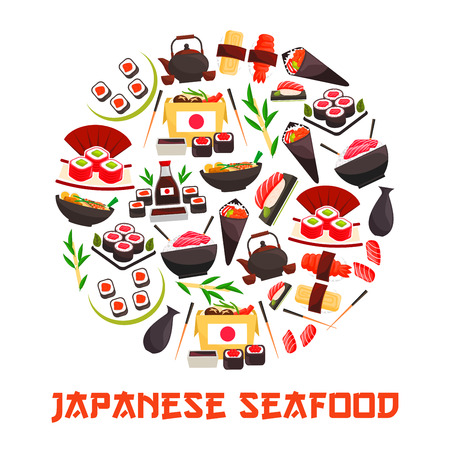 Japan sea and sushi food banner. Shrimp and salmon, tuna and rice rolls, bento with tamago and sashimi, temaki, kaviar or ikura on ebi, roe and nigiri, kettle and cups with tea. Asian and japanese seafood nutrition, gourmet theme Illustration