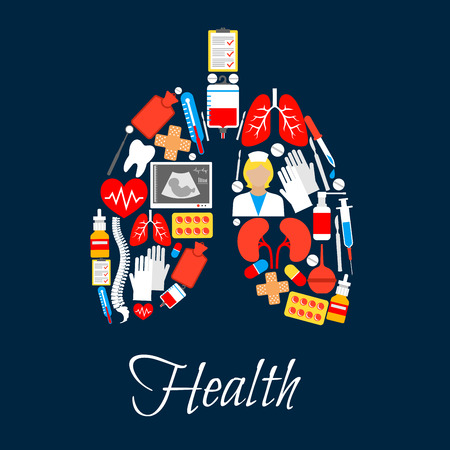 Medicine icons in form of lungs. Tooth and adhesive bandage or plaster, thermometer and blood pack, heart with pulse, medical rubber gloves and spine, nurse or doctor, x-ray and syringe, paediatric or pediatric radiography. Healthcare theme