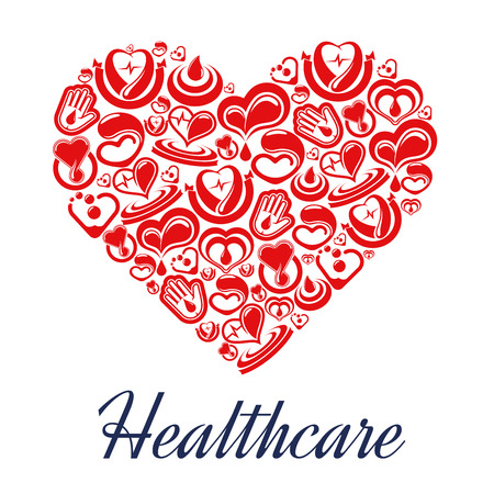 hospice: Heart with pulse and blood drop icons in form of heart. Cardiogram organ with heartrate medical treatment. Can be used for hospital or clinic, hospice and first aid, emergency and electrocardiogram, blood infusion and transfusion, donation theme,