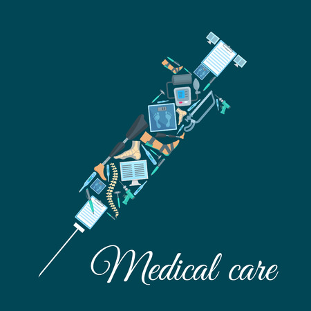 Syringe made of medicine icons. Weigher or scale, leg prosthesis and clutch, saw and drill, reflex hammer, thermometer, pen and blank sheet of paper, spine and bone, sphygmomanometer or blood pressure gauge. Medical or healthcare theme