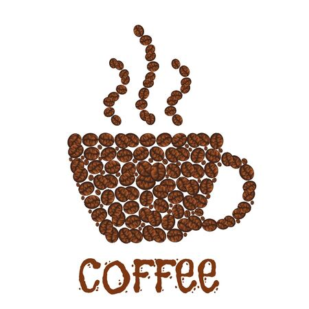 beverage menu: Steaming cup of coffee made of grains. Arabic aroma beverage made of beans, hot caffeine drink consisting of roasted seeds. Cafe or cafeteria, coffeehouse and restaurant menu