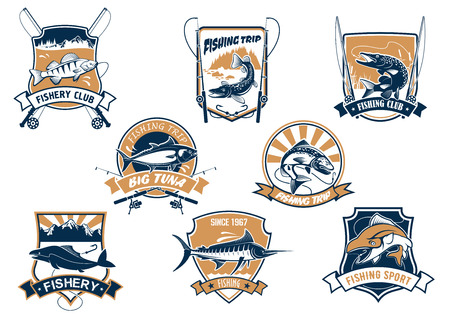 Sport fish isolated icons with rods. Sea bluefin banner and tuna symbol, freshwater finfish sign, river luce or pike and spinning with bait bait and bobbin. Fisherman club equipment or badge, sport or leisure club, fishery camp theme Illustration