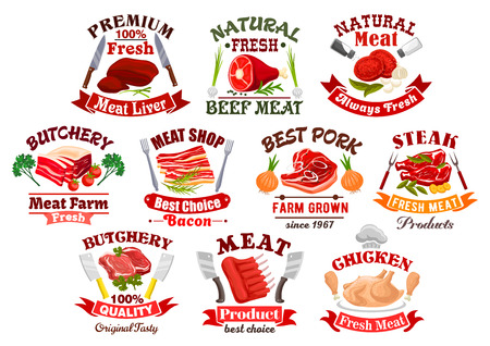 carne de pollo: Icons of meat products like chicken on plate and beef steak, bacon with leaf and lamb or cow meat with onion and spices, forks and knives, solnice and pepperbox. Poultry product and kitchen, cooking or barbecue, butcher shop theme Vectores