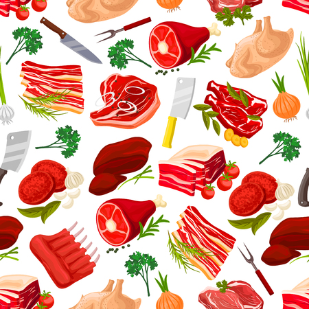 grease: Meat food products seamless pattern background. Beef steak with garlic and pork ham with leaf spices, fat or lard, grease with onion and sirloin, meatloaf and butcher knife or cleaver, fork. Cook and nutrition, food wrapper theme
