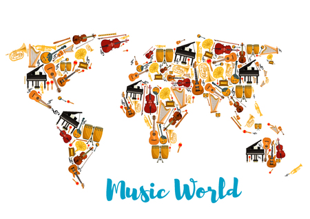 fife: World map made of musical instruments. Acoustic and electric guitar, sax or saxophone, drum kit and lyre, piano and fortepiano, horn and trumpet, flute or fife and treble clef, maraca or rumba shakers, contrabass and fiddle. Concert or show theme