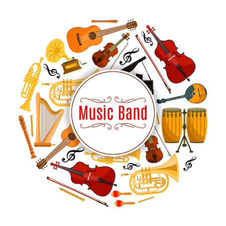fiddlestick: Musical instruments, sound or audio banner. Acoustic and electric guitar, violoncello or cello, violin and fiddle with fiddlestick or bow, trumpet and treble key. Melody and rhythm, song record and entertainment show theme