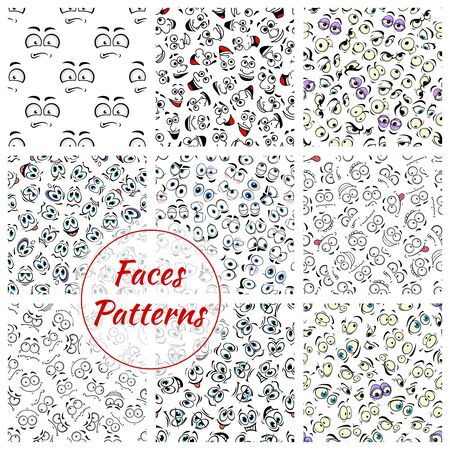 emotion faces: Set of cartoon faces expression seamless pattern background. Smiling facial emotions or emoticon like laugh and joy, sad mouth or cheerful eyebrow, scared or joyful, anger or wondering emotion. Caricature backdrop theme Illustration