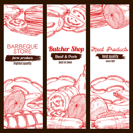 Sketched meat food and sausage banner. Pork ham and chicken leg, frankfurter wurst or kielbasa, tenderloin or cutted sirloin, meatloaf. Barbecue or bbq shop, butcher store or nutrition, poultry dish theme Çizim