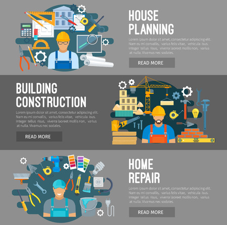 industry design: Construction, home repair, house building industry vector flat design banners. Profession workers builder, constructor or engineer. Work tools engineering instruments, development planning. Drill, crane and screwdriver, trowel, timber and concrete Illustration