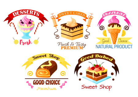 fruit cake: Pastry dessert icons set. Vector sweet ice cream, fruit cake and cupcake with fruits, glazed vanilla tart with whipped cream, chocolate roll pie. Vector candy, lollipop, marmalade fondant, ribbons for bakery, patisserie or confectionery shop badge